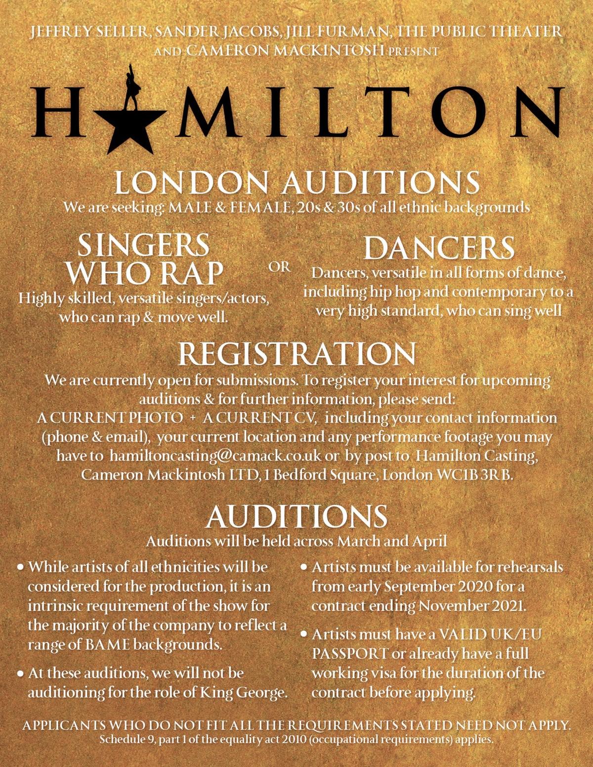 hamilton auditions london west end 2020